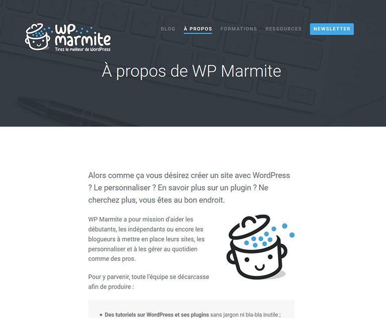 Page à propos WP Marmite