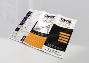 Dépliant pour la location de matériels de sonorisation des magasins Tamtam Music & Scene